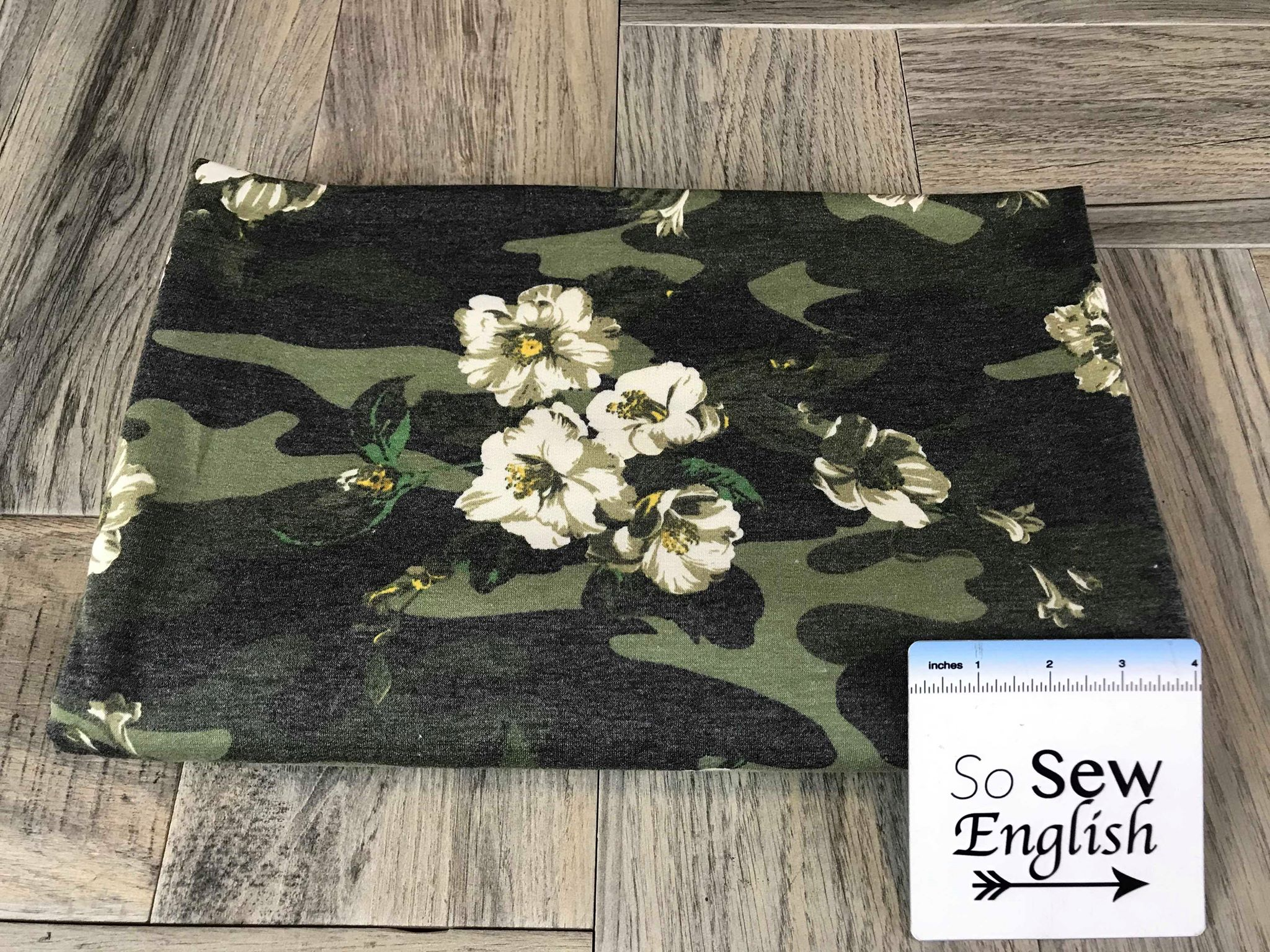 Charcoal/Olive CAMO FLORAL- French Terry- By the yard