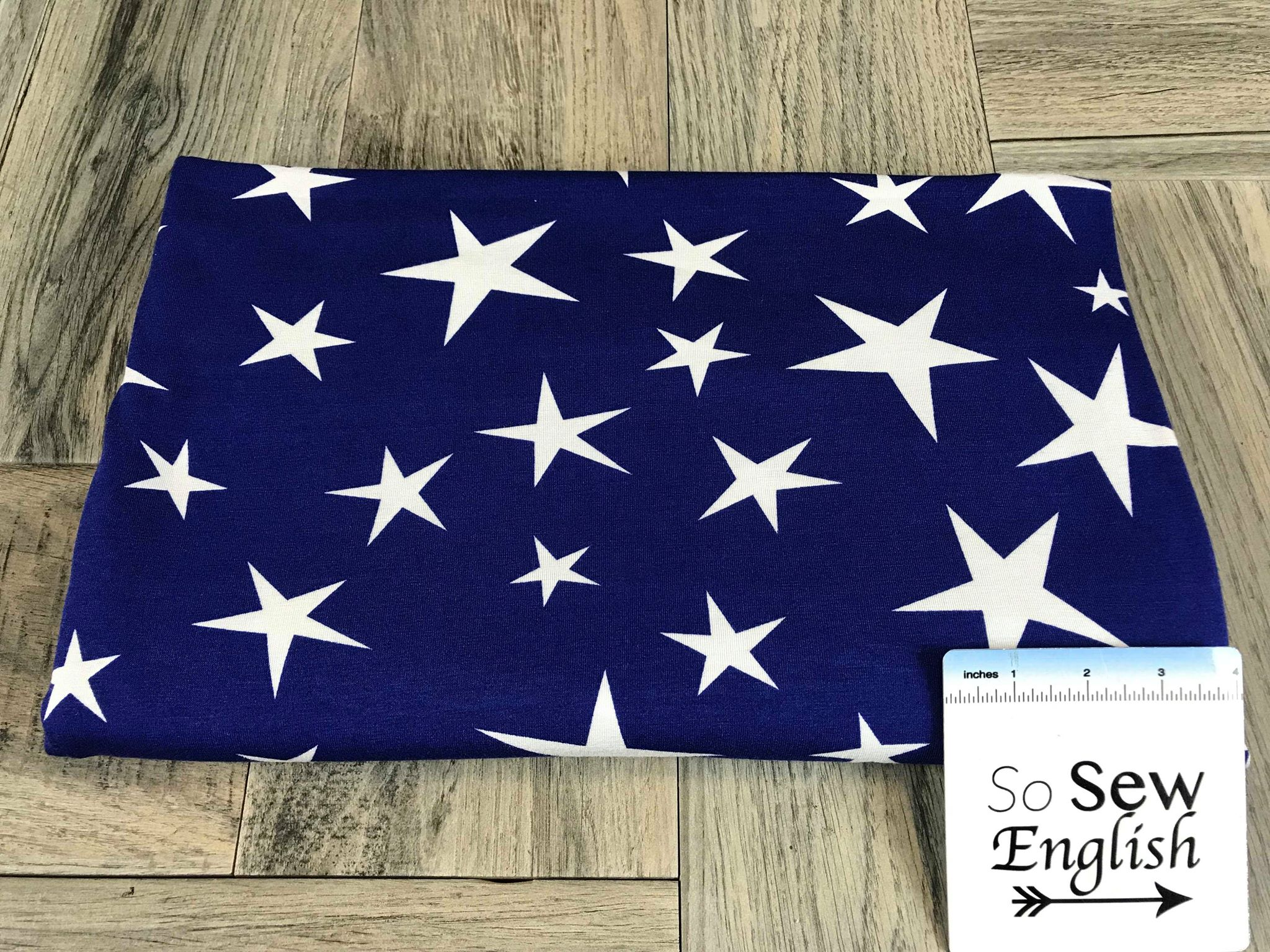 Royal Odd Stars - Poly Spandex Knit - By the yard (Patriotic)