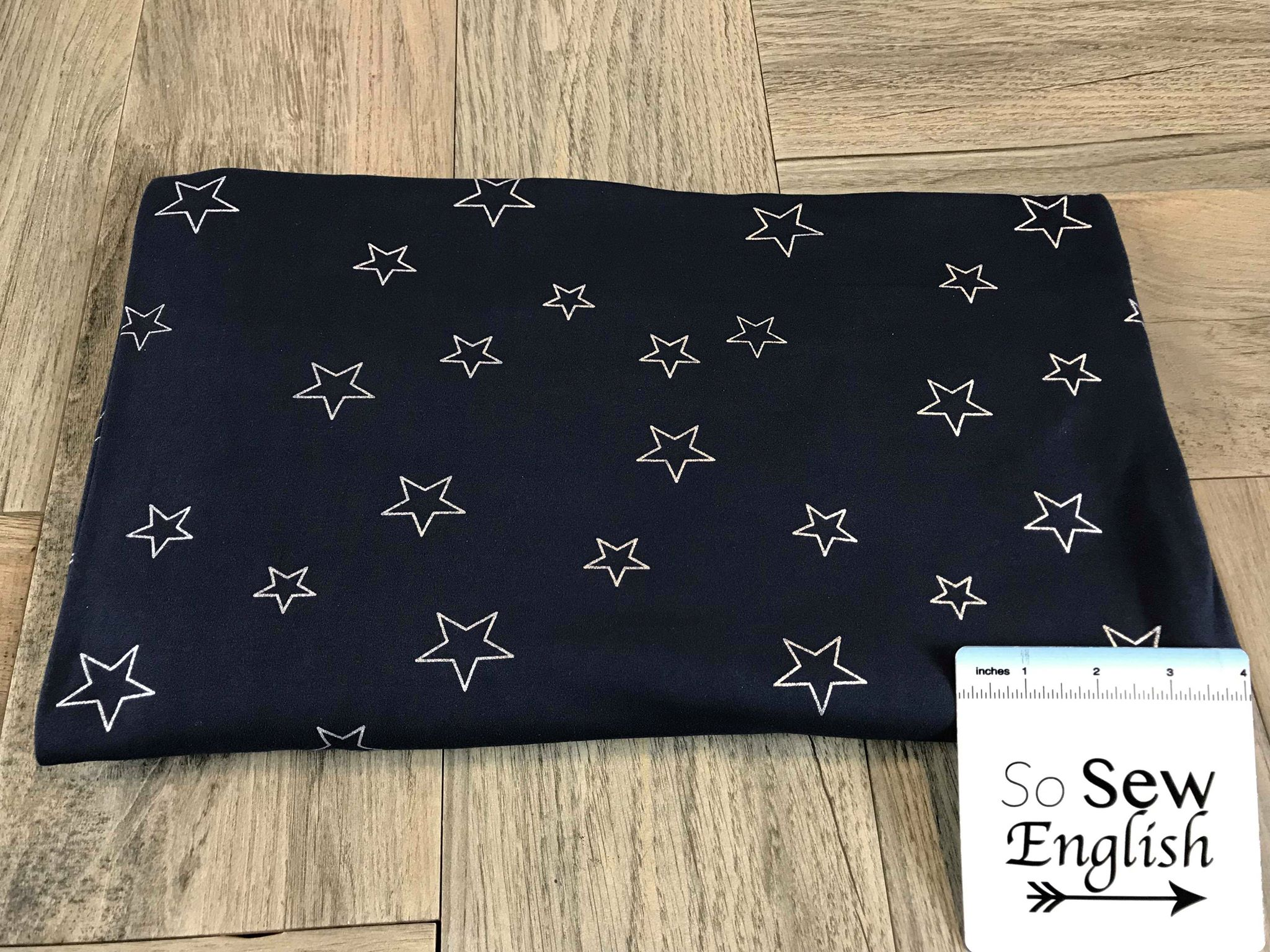 Navy/Silver FOIL STARS - Double Brushed Poly Spandex -By The Yard