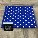 Royal/Ivory LARGE POLKA DOT - Crepe Scuba -By The Yard