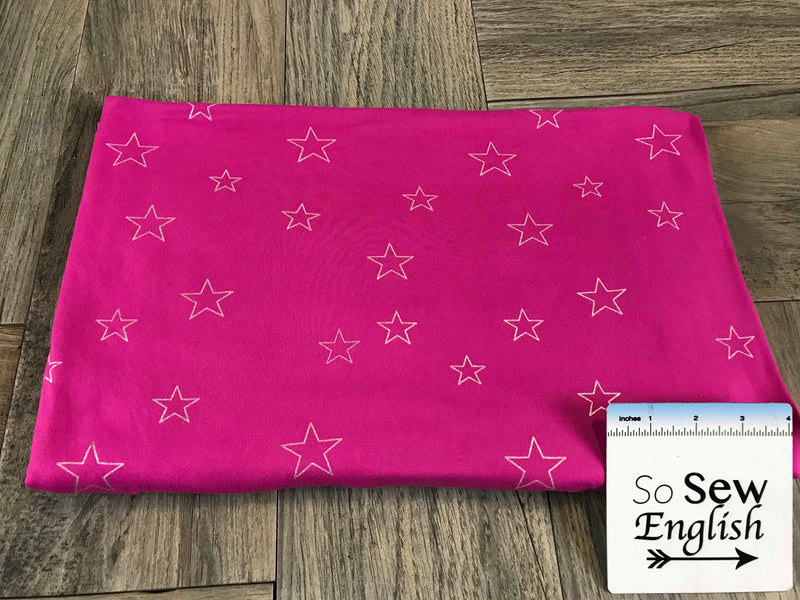 Fuchsia/Silver FOIL STARS - Double Brushed Poly Spandex -By The Yard