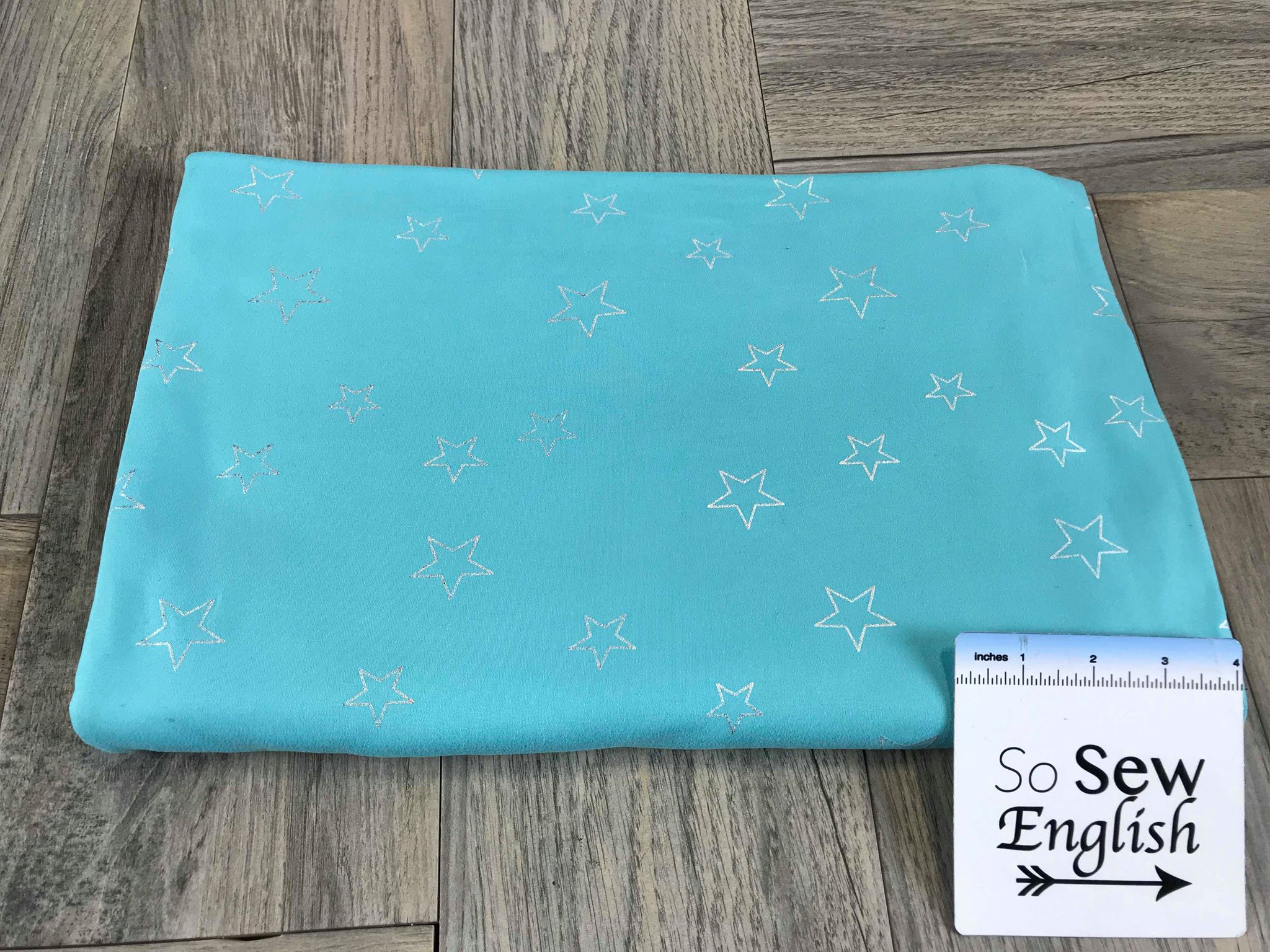 Aqua/Silver FOIL STARS - Double Brushed Poly Spandex -By The Yard