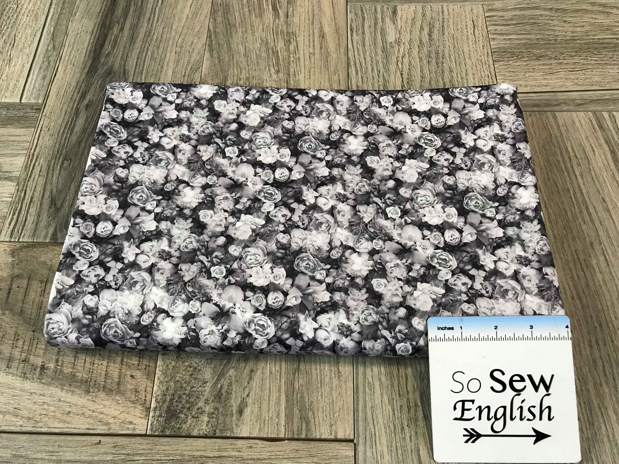 Grey Tiny Floral -Swim -By The Yard