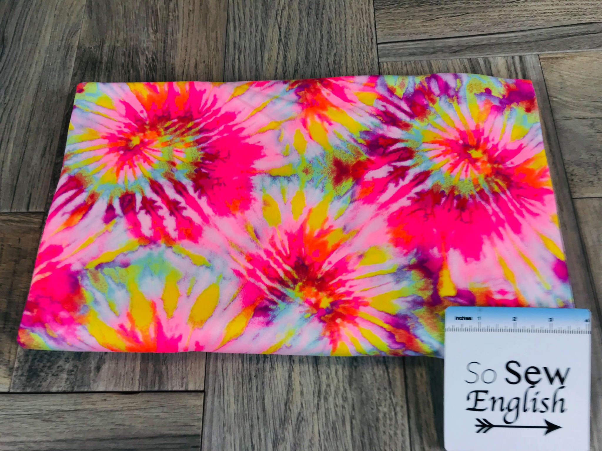 f17c5f15b4e Neon Pink SPIRAL TIE DYE - Double Brushed Poly Spandex -By The Yard – So  Sew English Fabrics