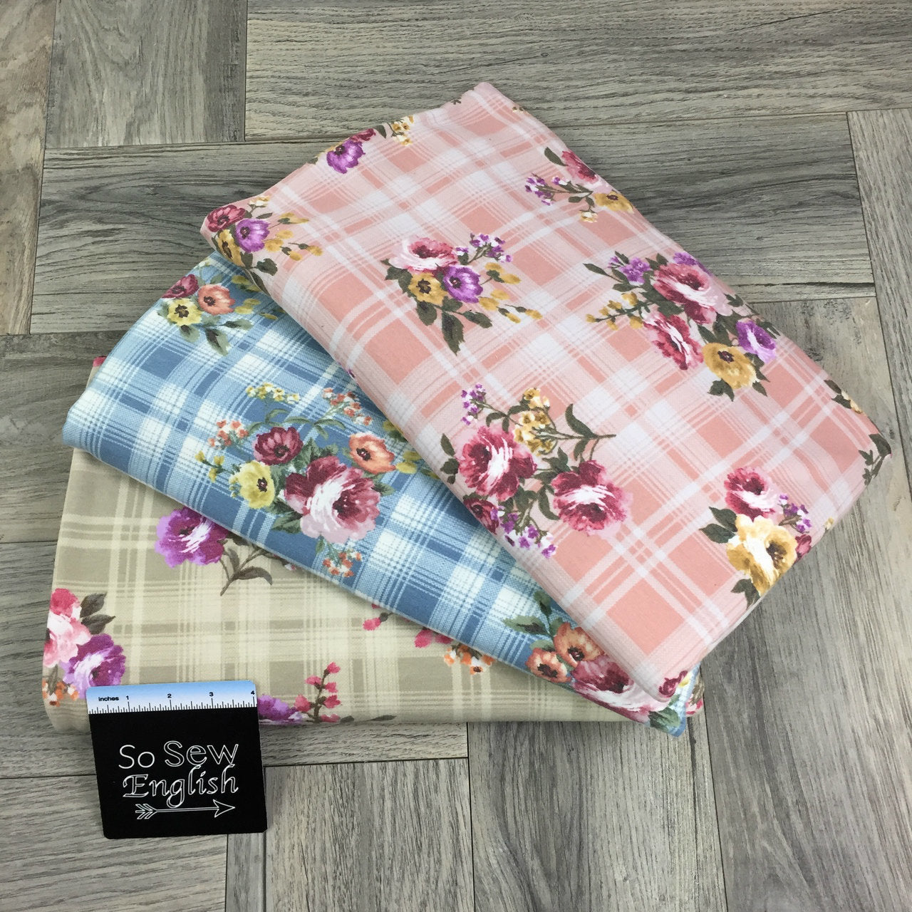 Blue JULIA Floral Plaid - Poly Rayon French Terry - By the yard