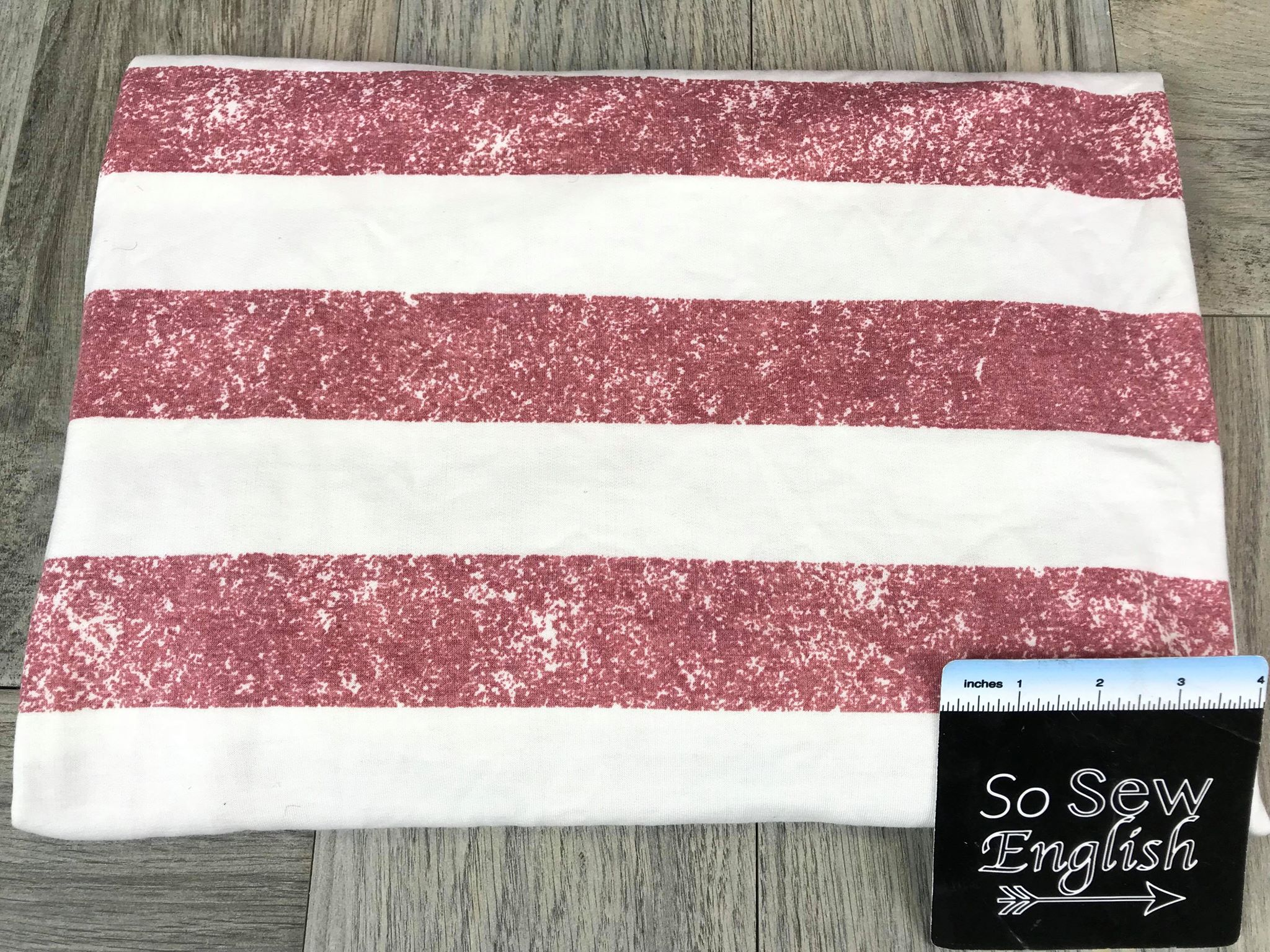 Vintage RED STRIPE - French Terry- By the yard (Patriotic)