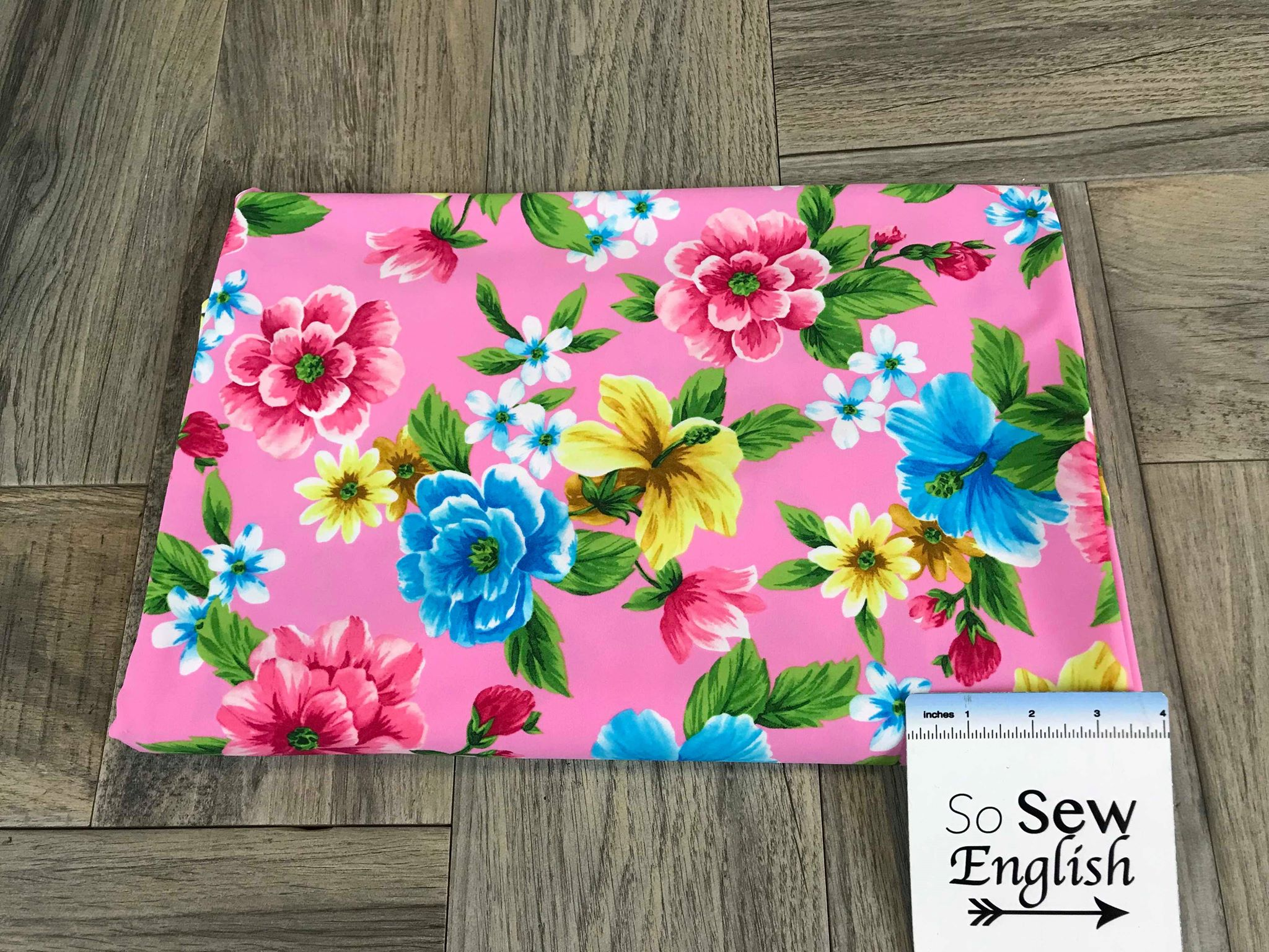 cef18128a97 Pink/Yellow Floral -Swim -By The Yard – So Sew English Fabrics