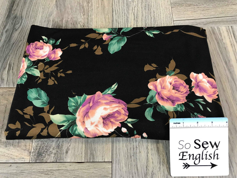 Black BLUSH LILLY - Rayon Spandex -By the yard
