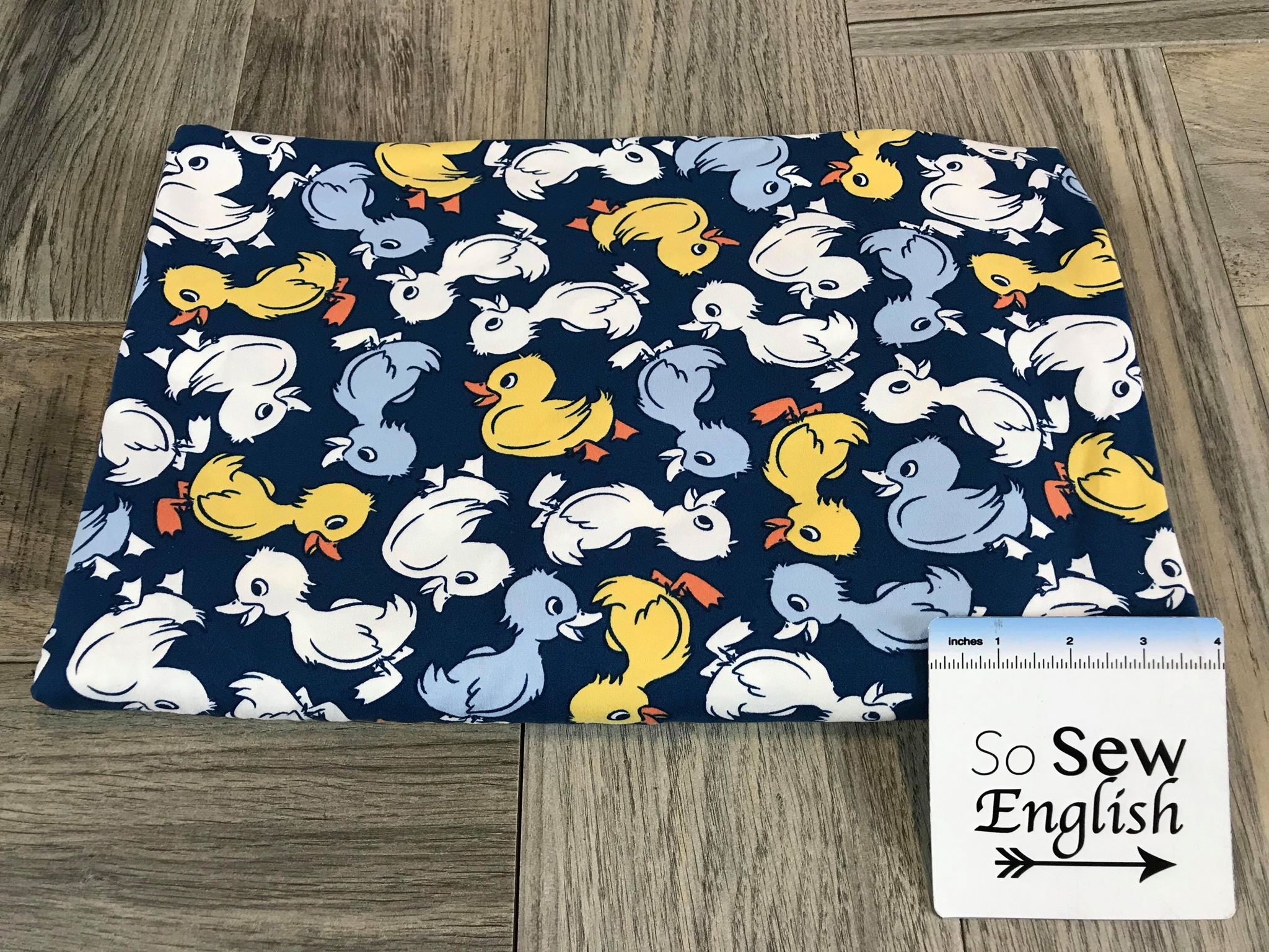 Navy QUACKERS - Double Brushed Poly Spandex -By The Yard (Ducks)