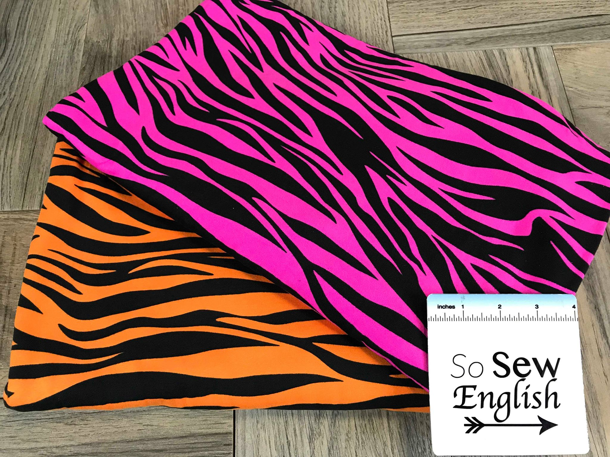Orange Zebra - Double Brushed Poly Spandex -By The Yard