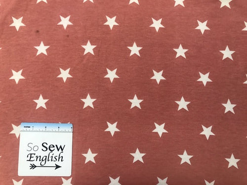 FT Stars on BLUSH- Poly Rayon Spandex French Terry - By the yard