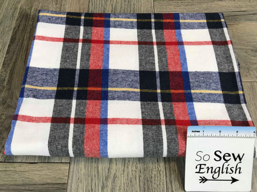 White Plaid -Flannel Woven- By the yard
