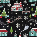 Black Glow North Pole -Lewis & Irene Cotton Woven- By the yard