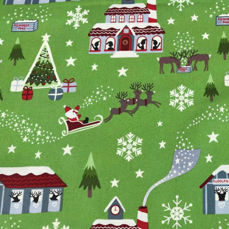 Green Glow North Pole -Lewis & Irene Cotton Woven- By the yard
