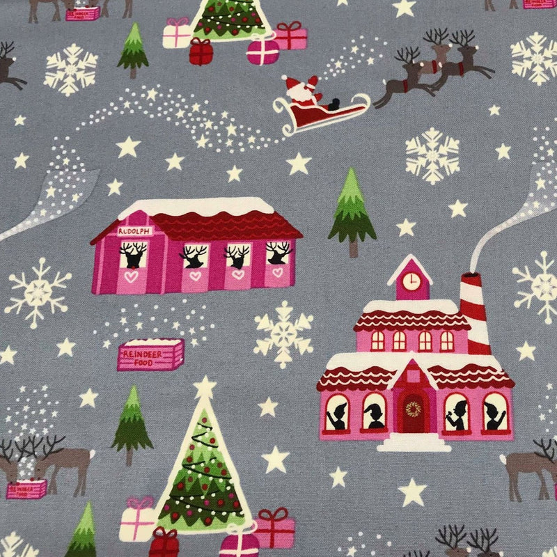 Grey Glow North Pole -Lewis & Irene Cotton Woven- By the yard