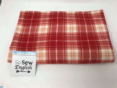Red PLAID (right side loops)- Poly Rayon Spandex  French Terry - By the yard