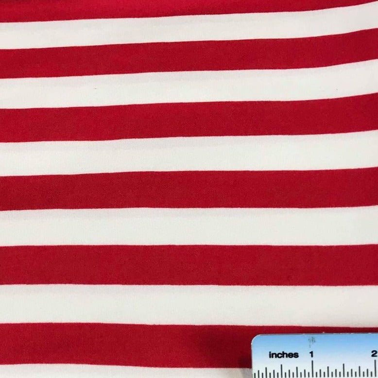 Red WIDE STRIPE - Double Brushed Poly Spandex -By The Yard (Patriotic, Christmas)
