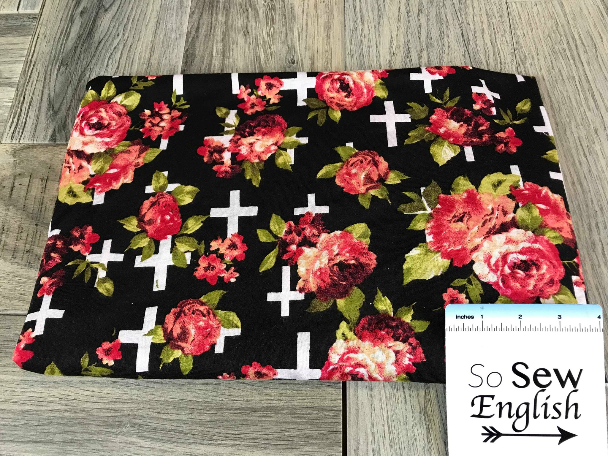 Black Floral Crosses - Rayon Jersey -By the yard
