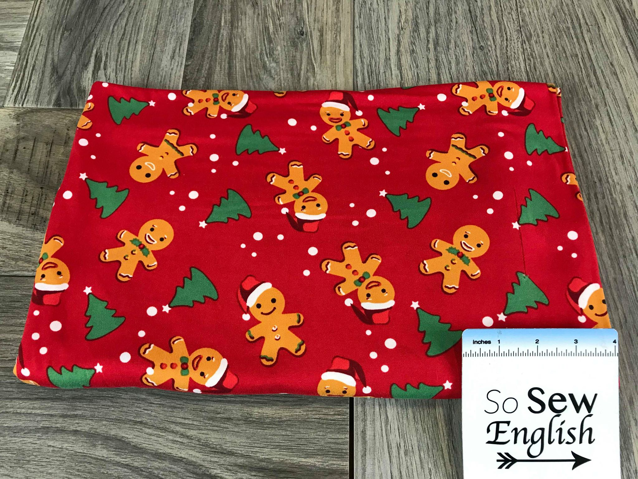 Red GINGERBREAD & TREES - Double Brushed Poly Spandex -By The Yard (Christmas)