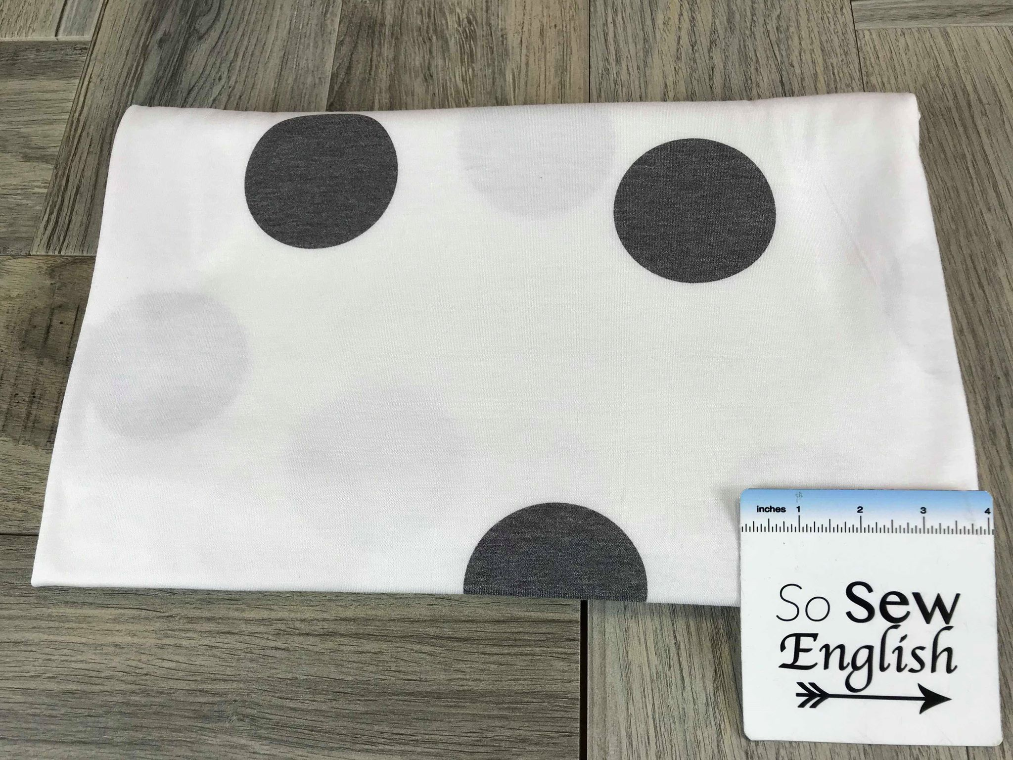 "Ivory/Charcoal Large Dot - ""Cotton Style Jersey"" - By The Yard"