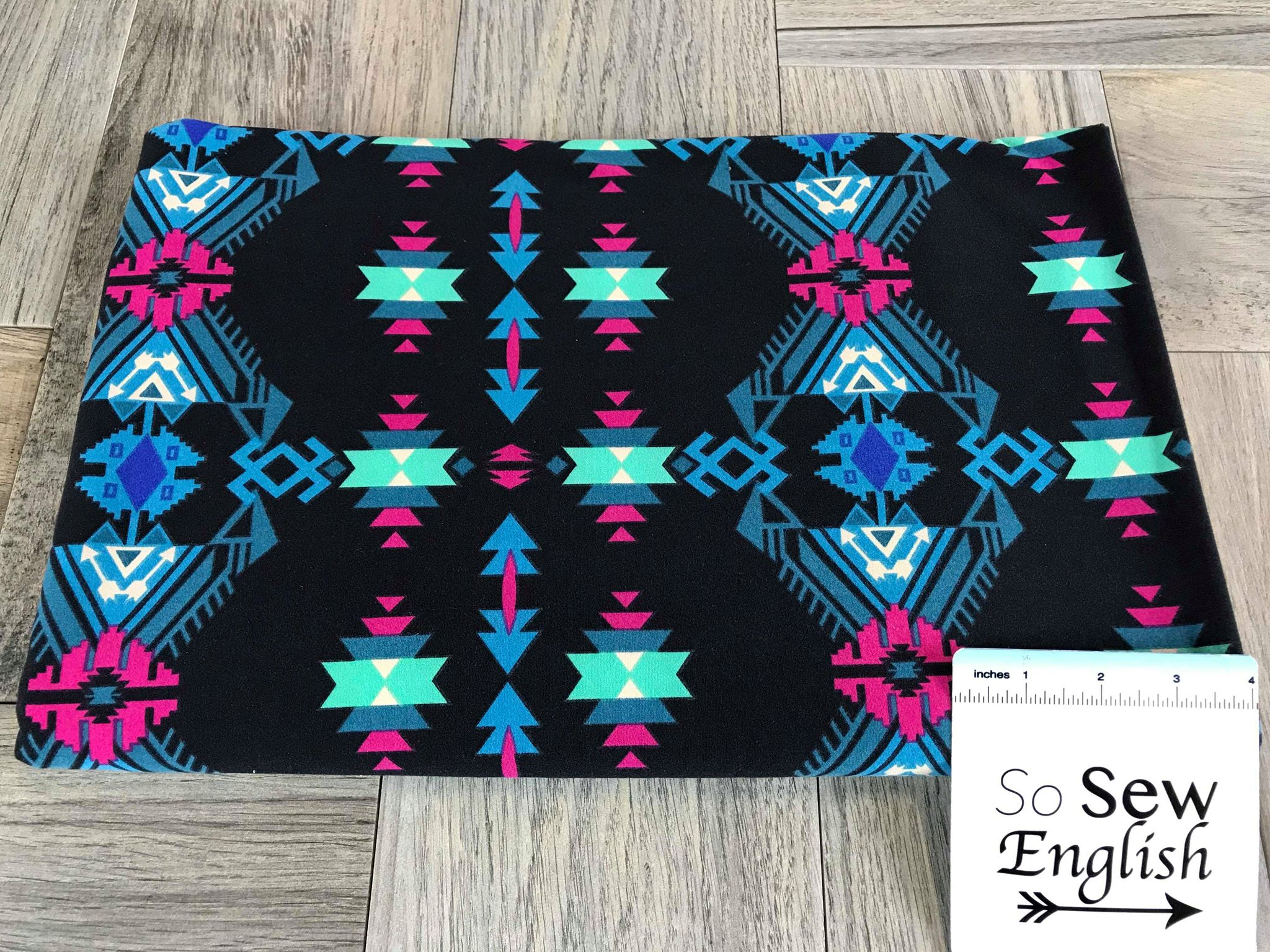 Black/Teal AZTEC- Double Brushed Poly Spandex -By The Yard