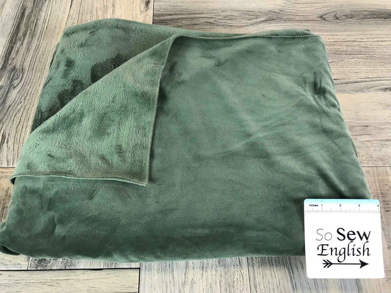 Solid Olive- VELVET PLUSH - By the yard