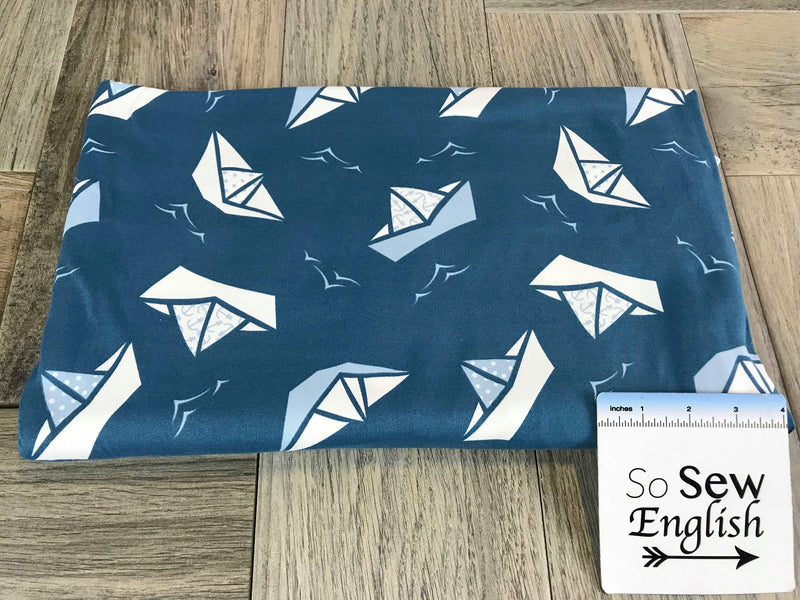 Teal PAPER BOATS- Double Brushed Poly Spandex -By The Yard