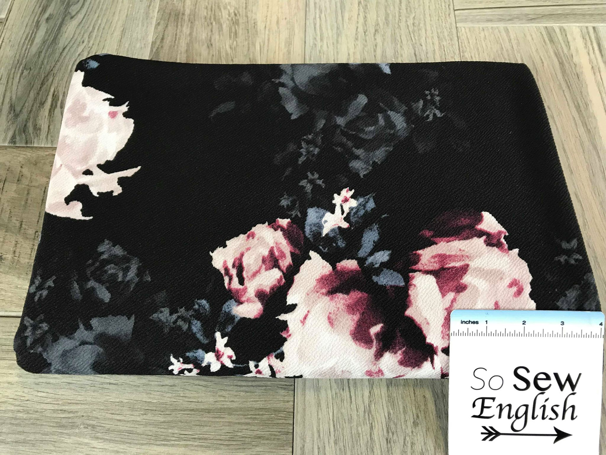 Black/Ruby Shadow Floral- LIVERPOOL Knit - By the yard