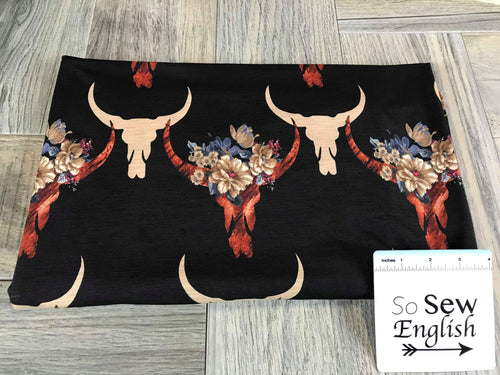 Black/Rust FLORAL BULL-Bulgaree ITY - By the yard