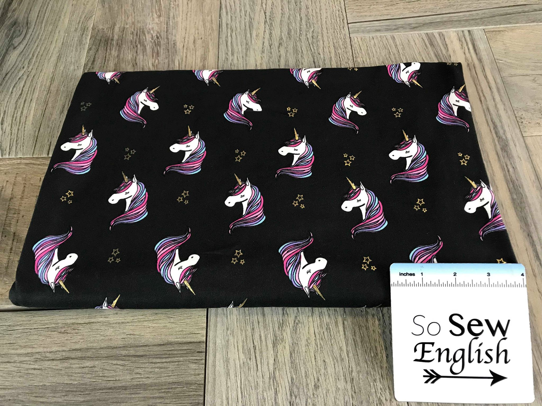 Black UNICORN with Foil Stars - Double Brushed Poly Spandex -By The Yard