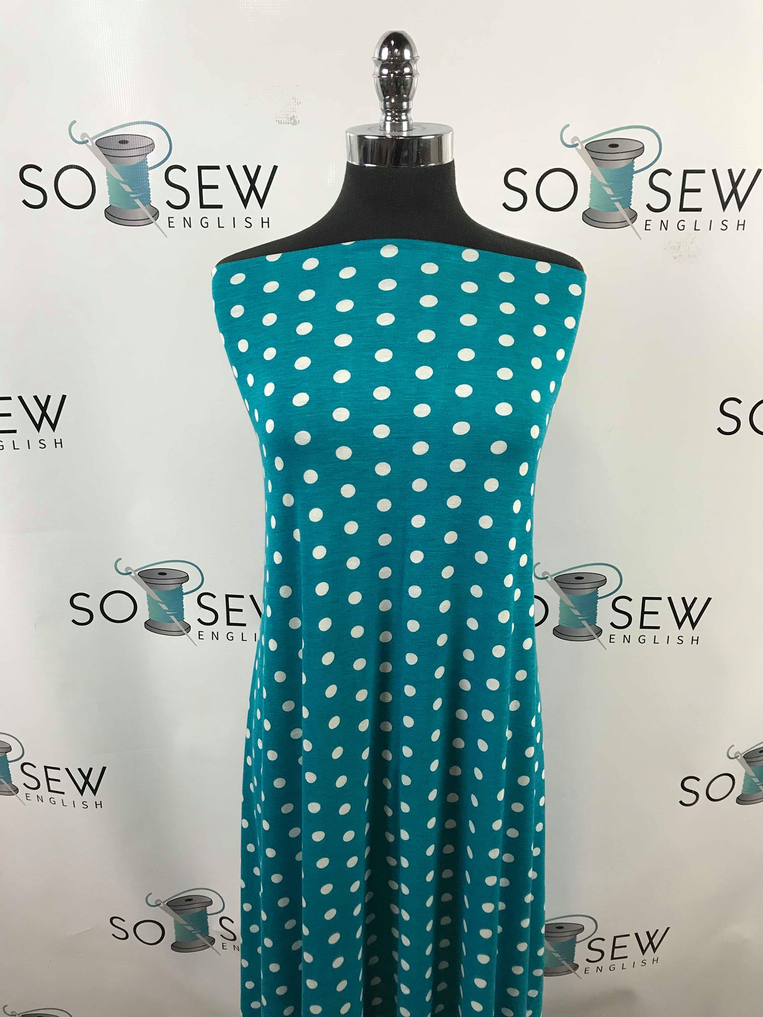 Jade DOTS - Rayon Linen Spandex -By the yard