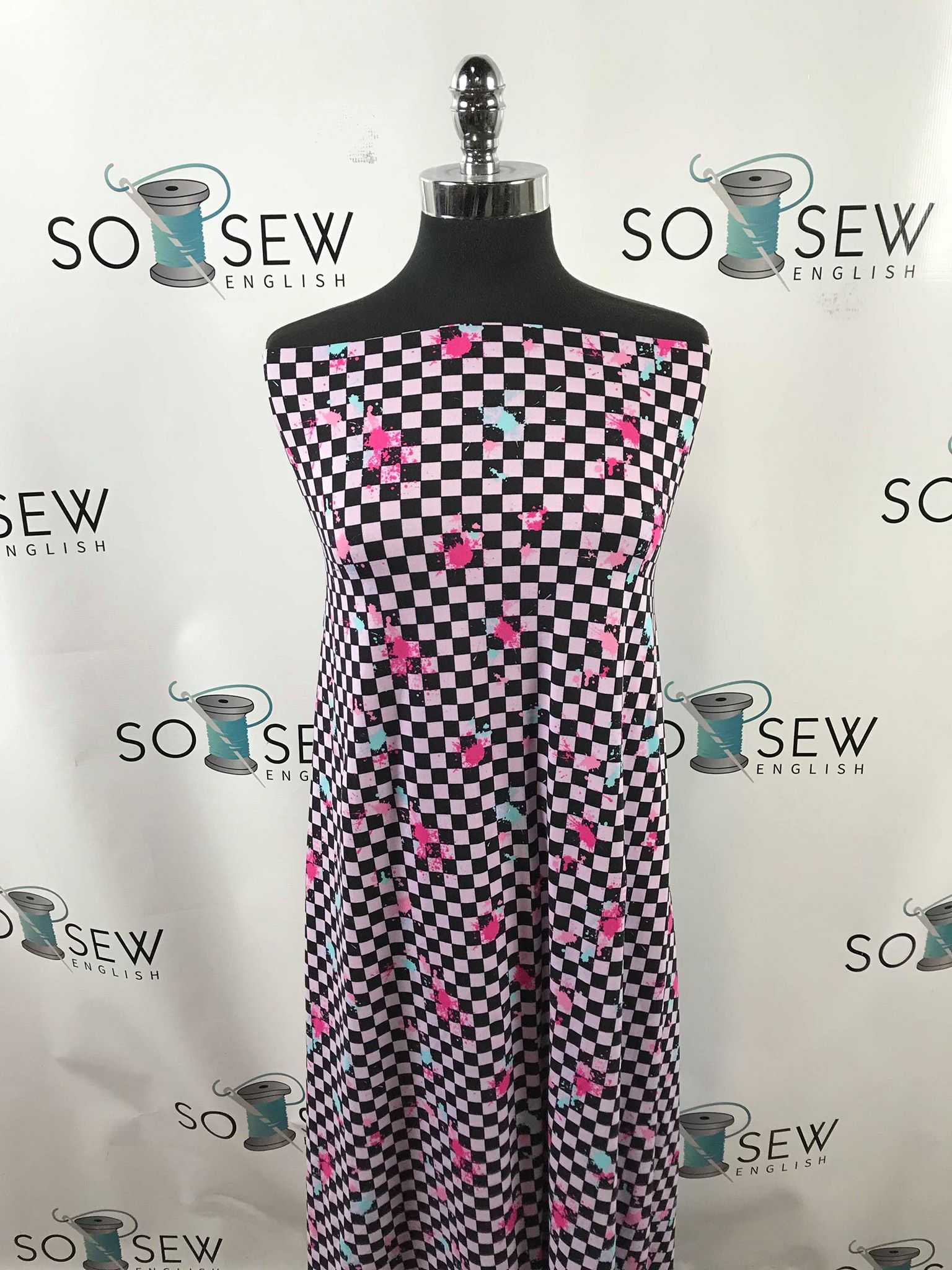 SPLATTER CHECK- Double Brushed Poly Spandex -By The Yard (checker)