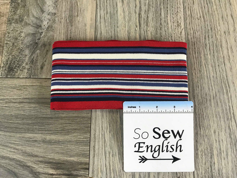 "Red/Chambray/Ivory 4""x 64"" -Cuff Rib Knit- Sold by the piece"