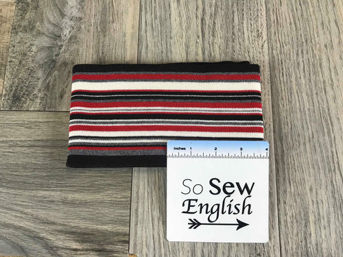 "Black/Red/Ivory 4""x 66"" -Cuff Rib Knit- Sold by the piece"