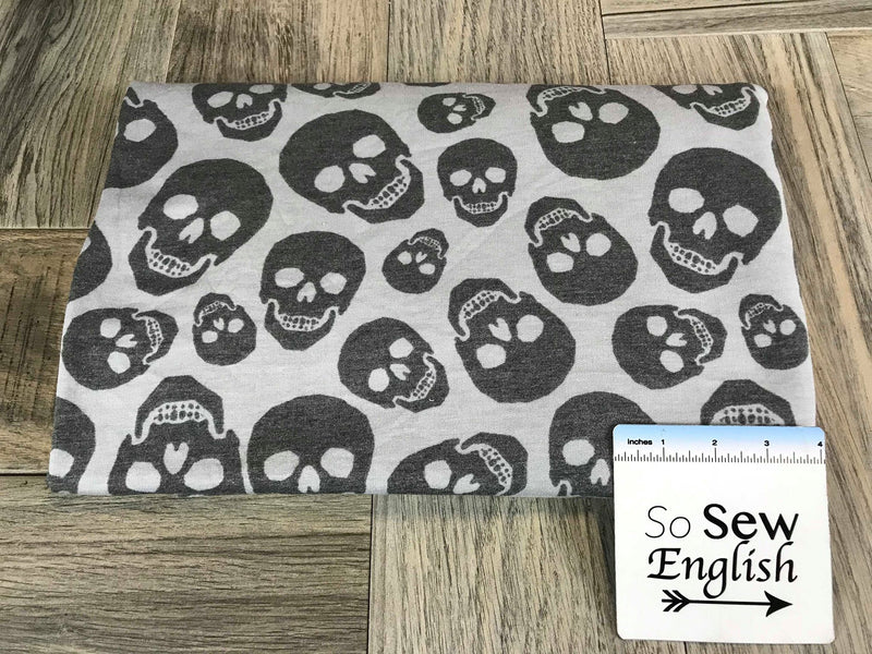 Silver/Grey SKULLS - French Terry- By the yard