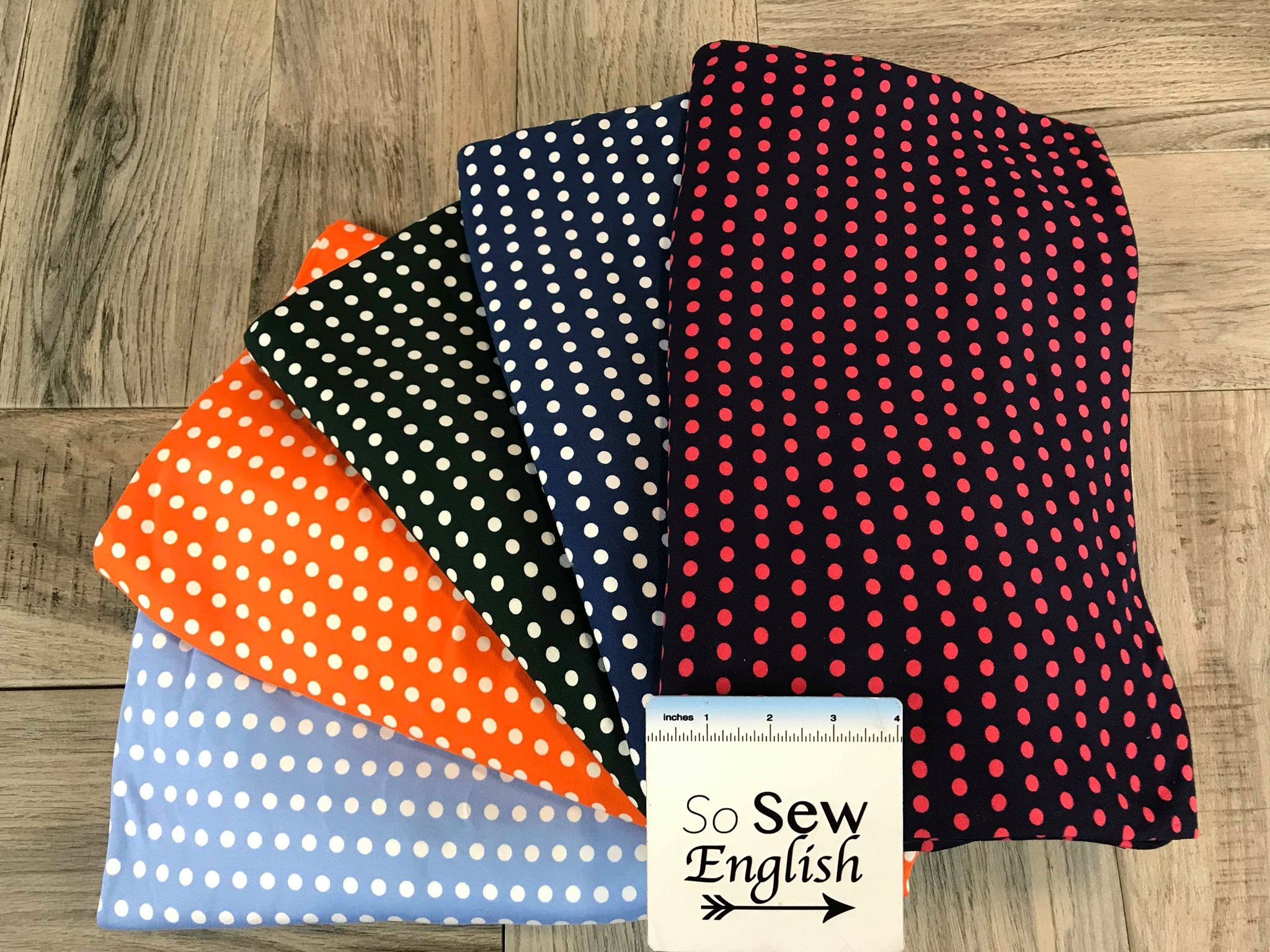 Hunter DOTS - Double Brushed Poly Spandex -By The Yard