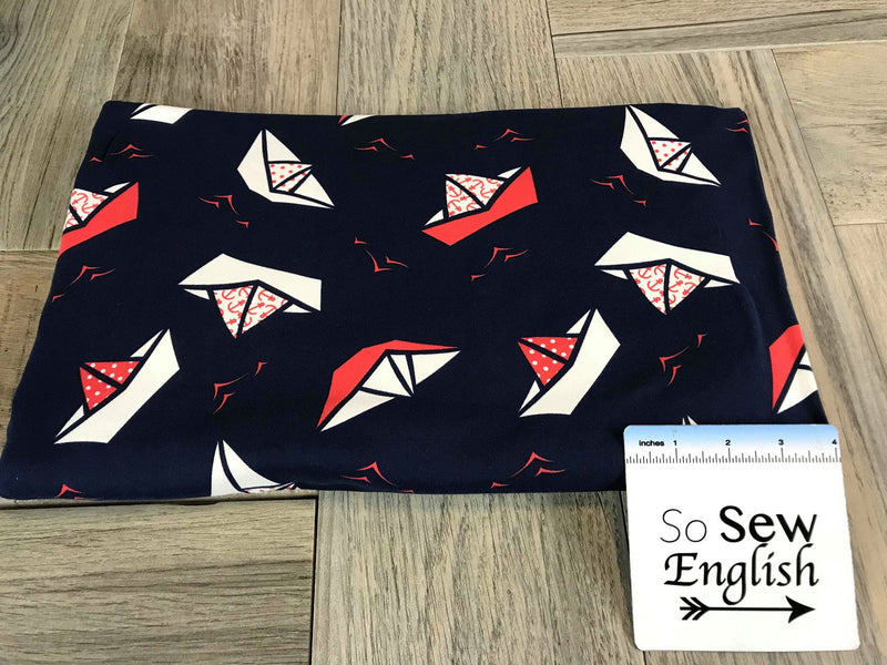Navy SAILBOAT - Double Brushed Poly Spandex -By The Yard (Boat, Paper Boat)