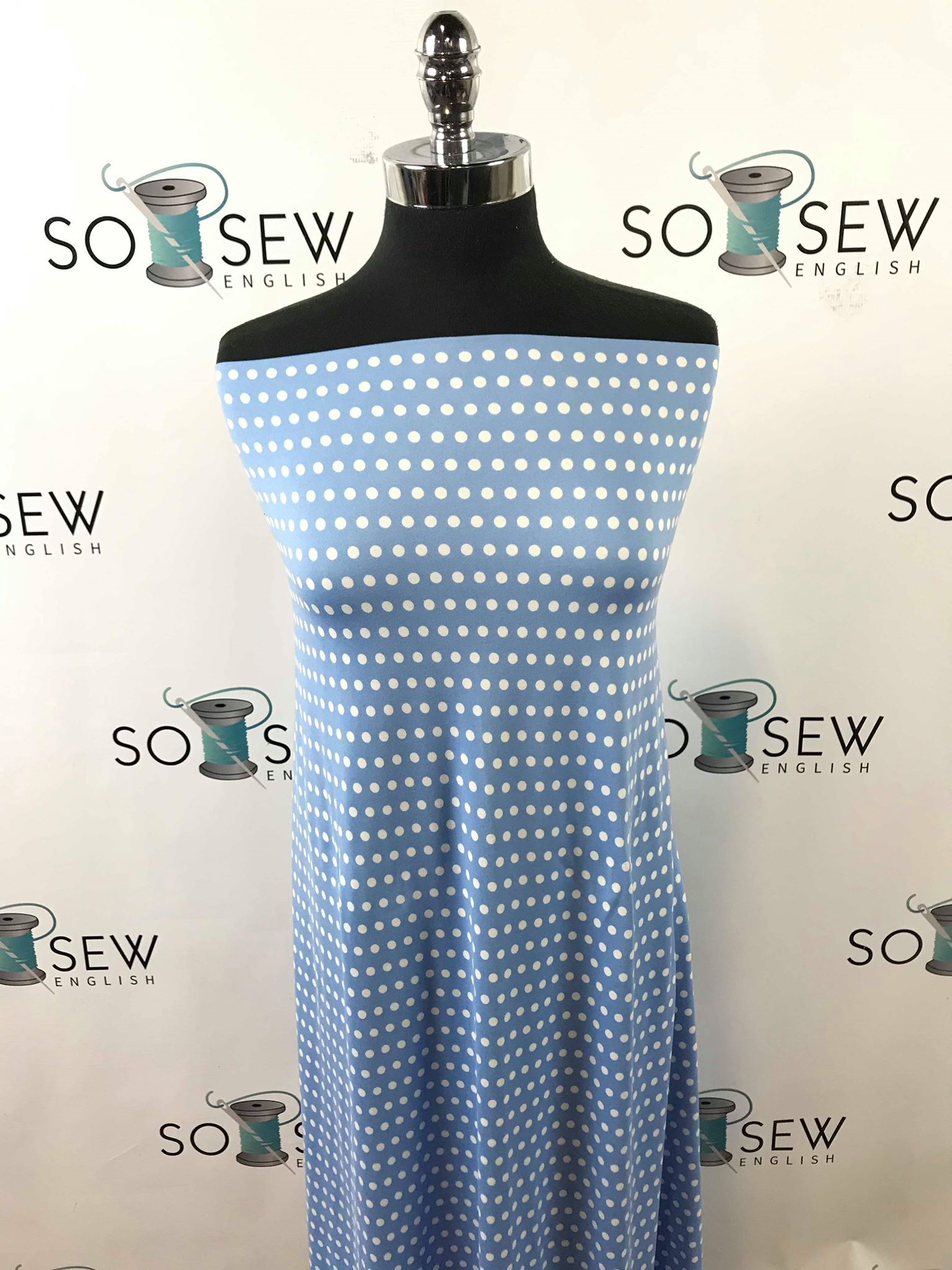 Chambray DOTS - Double Brushed Poly Spandex -By The Yard