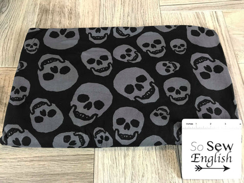 Black/Charcoal SKULLS- Double Brushed Poly Spandex -By The Yard