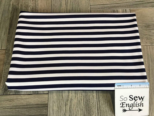 Deep Navy/Ivory STRIPE -PONTE  - By The Yard