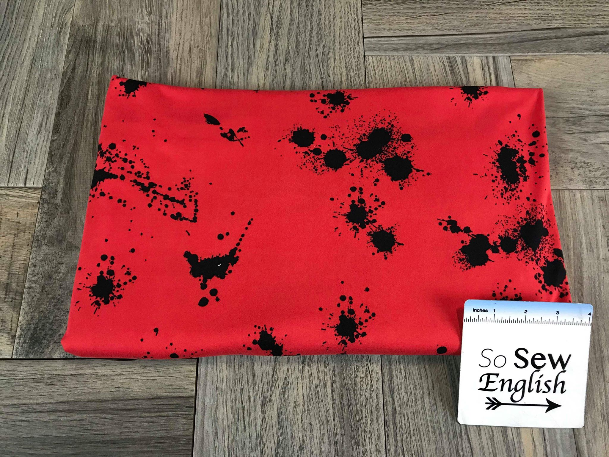 Red/Black SPLATTER - Double Brushed Poly Spandex -By The Yard