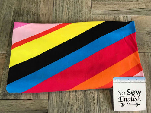Diagonal Rainbow Stripe - Double Brushed Poly Spandex -By The Yard