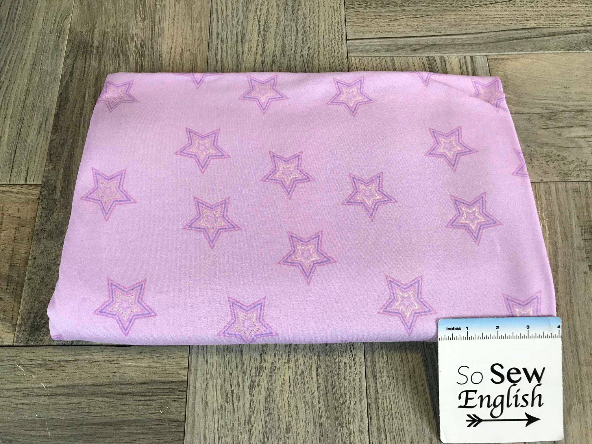 Lilac Foil STARS -French Terry- By the yard