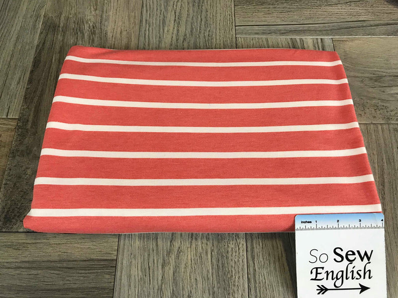 Coral SAM STRIPE -French Terry - By the yard