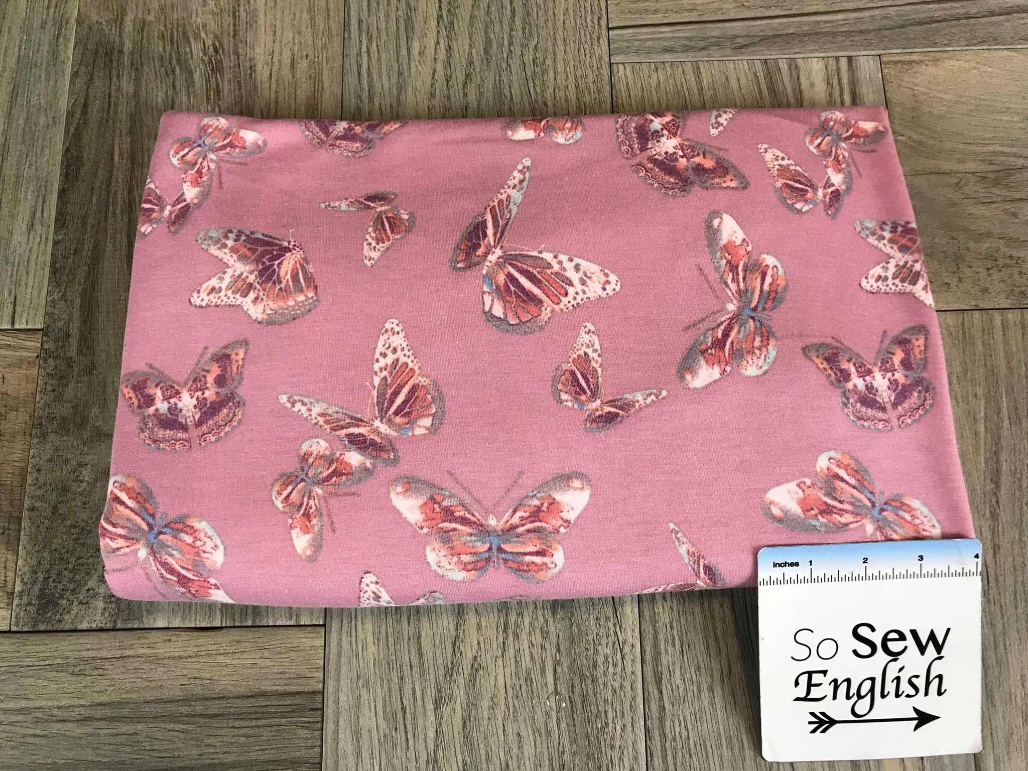 Mauve/Sienna BUTTERFLIES -Poly Rayon Spandex  French Terry - By the yard (Butterfly)