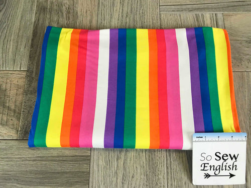 Rainbow Vertical Stripe - Double Brushed Poly Spandex -By The Yard