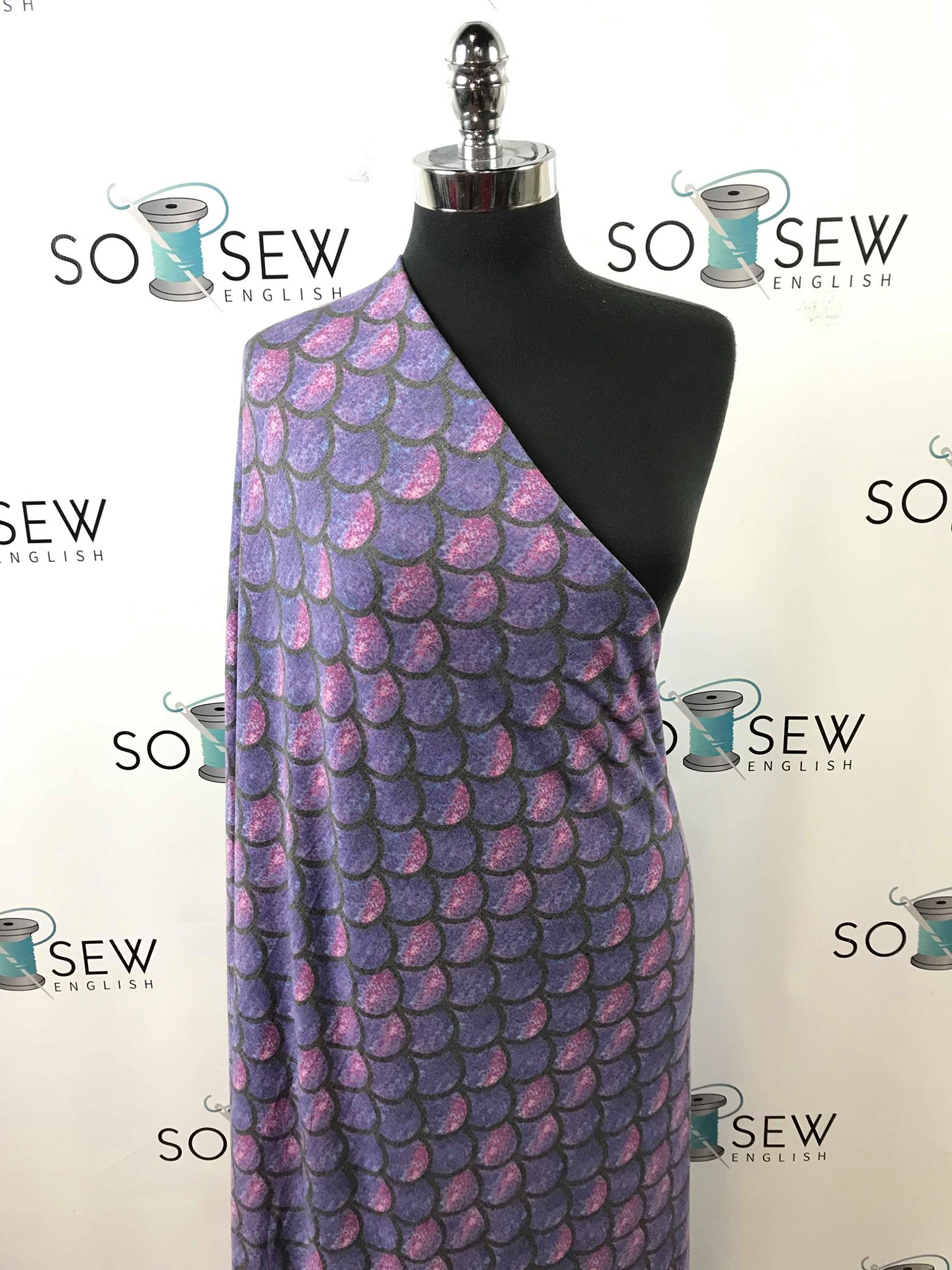 FT Purple SCALES -Poly Rayon Spandex  French Terry - By the yard