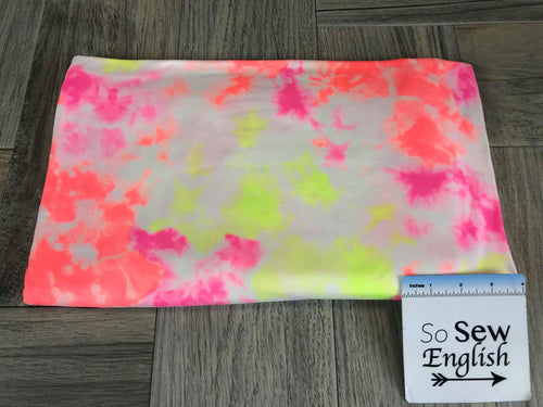 Highlighter Pink/Yellow Tie Dye- Double Brushed Poly Spandex -By The Yard (neon)