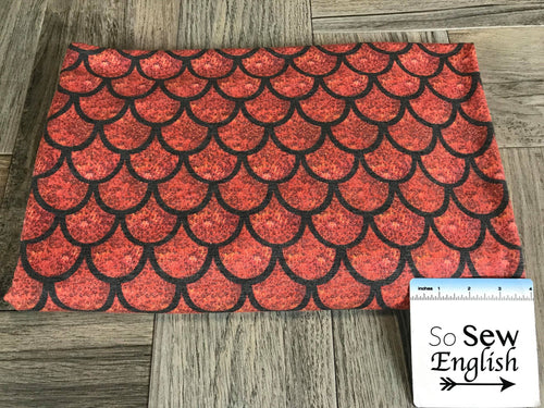 FT Red SCALES -Poly Rayon Spandex  French Terry - By the yard