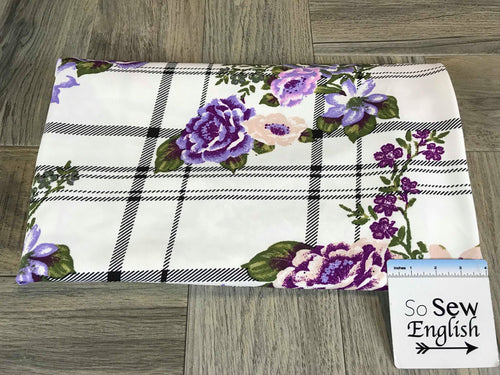 Purple Floral Plaid -Crepe Scuba -By The Yard